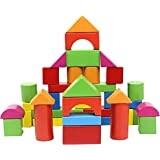 CrazyCrafts Wooden Multicolour 47 Pieces Building Blocks Shape Sorting Puzzle to Learn Colours and Shapes for Boys and…