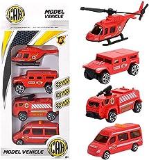 Yukio KinderToys - 4 Stück Kinder Spielzeugauto Fahrzeuge Playmobil Set, Lastwagen, Helikopter, Bagger, Geschenkset für Geburtstag, Weihnachten