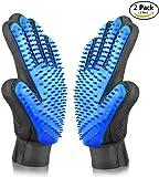 Aodatu Haustier Handschuhe (2PCS), Profi Fellpflege Haustier Handschuh Bürste, Hund & Katze Bade Massage Bürsten