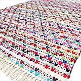 Eyes of India 3 x 5, 4 x 6, 5 X 7 Pieds coloré Chindi décorative tissé CARPETTE Multicolore Blanc Tapis Boho bohème Indien - Multi, 4 X 6 ft. (120 X 180 cm)...