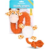 Barkbutler Garry The Giraffe Soft Squeaky Plush Dog Toy, Orange | for Small - Large Dogs (5-30kgs) | Machine Washable | Reinf