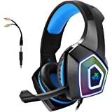 Cuffie Gaming con Microfono per PS4 PC Xbox One con LED, Stereo Bassi, Cancellazione del Rumore, Controllo del Volume, Cuffie