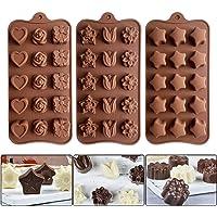 Lot de 3 Silicone Moules à Chocolat, Moules à Bonbon Moules à Glacons Silicone pour Fabrication de Gâteaux Faits à La…
