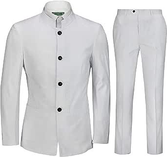 Mens Retro Nehru Jacket Black White Chinese Collar Grandad 2 Piece Suit Slim Fit