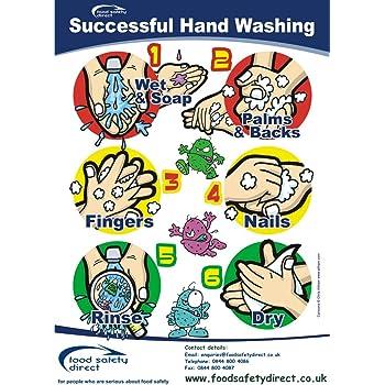 Laminated Successful Hand Washing Poster A4 Size Amazon