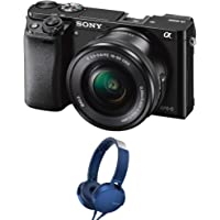 Sony Alpha ILCE 6000L 24.3 MP Mirrorless Digital SLR Camera with 16-50 mm with MDR-XB550AP Headphones (Black)