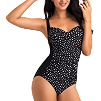 WIN.MAX Maillot de Bain rembourré et froncé, Maillot de Bain Grande Taille Femme, Style rétro Vintage Push Up Monokinis