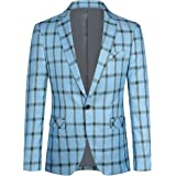 YOUTHUP Mens Check Blazer Slim Fit 1 Button Casual Business Suit Jacket Stylish Plaid Blazers