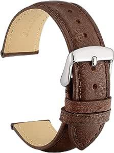 WOCCI Bracelets de Montre en Cuir Vintage avec Boucle en Argent Inoxydable, Bande de Remplacement 14mm 16mm 18mm 19mm 20mm 21mm 22mm 23mm 24mm