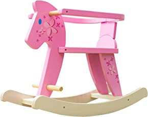 Labebe Baby Schaukelpferd Holz, Schaukelpferd Rosa mit Zaun für Baby 1-3 Jahre Alt, Schaukel Baby/Schaukel Pferd/Schaukel Rosa/Schaukeltier Rosa/Schaukeltier Pink/Schaukelpferd Pink/Schaukel Kinder
