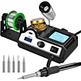 Preciva Soldering Iron Station, 60W Professional Digital Soldering Station, 90-480℃ Temperature Adjustable Repair Tool Kit with Soldering Tips, Solder Wire and Frame, Sponge, Suction Device, etc.