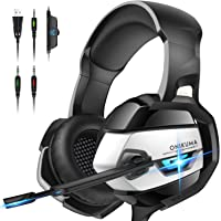 ONIKUMA PS4 Headset, Gaming Headset with Microphone Xbox One Headset Surround Sound 50mm Drivers Noise Canceling Mic Over-Ear Gaming Headphones for Mac Gaming Boy Xbox One (Adapter not included)