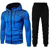 Sportpak voor heren, joggingbroek, hoodie, ritssluiting, sweatshirt en broek met zakken, trainingspak voor heren, 2-delige ho