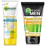Garnier Skin Naturals Light Complete Duo Action Facewash, 100g & Garnier Men Power White Anti-Dark Cells Fairness Face Wash,