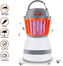 [2018 Newest Version] KACOOL Bug Zapper & Camping Lantern 2 In 1 Night LED Light Bulb Lamp & Mosquito Insect Killer Zapper Repellent Control Waterproof Rechargeable Portable For Indoor & Outdoors Traveling