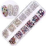 Fashionwu 12 Grid Imitation Diamond Nail Art Box Mineral Jewelry Mixed Bride Phototherapy Nail DIY Tool (4#)
