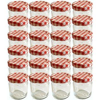 25er set sturzglas 125 ml marmeladenglas einmachglas einweckglas to 66 rot karrierter deckel. Black Bedroom Furniture Sets. Home Design Ideas