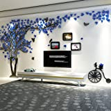 Alicemall 3D Pegatina de Árbol Vinilos Hojas Negros Marcos de Foto Adhesivo Decorativo de Pared para Dormitorio Hogar Oficina