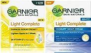 Garnier Light Complete Fairness Serum Cream, 45g and Garnier Skin Naturals, Light Complete Night Cream, 40gm