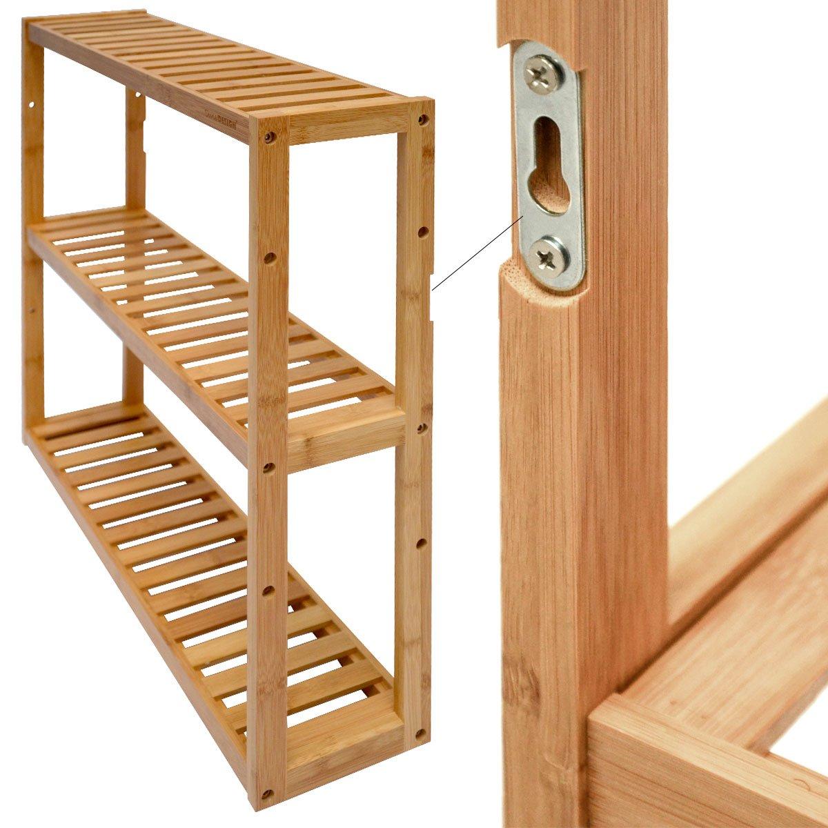 Dunedesign Wandregal 54x60x15cm Bambus Bad Regal 3 Facher Holz