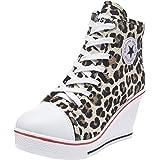wealsex Sneaker Donna Zeppa Alte Donna Scarpe Lato Zip 8 CM Allacciate Donna Tela Scarpe da Moda Sneaker