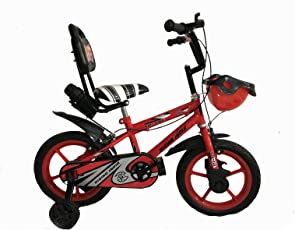 "Rising India 14"" Sports Kids Bicycle For 3-5 Years With Full Chain Cover And Bottle (Neon Red),Semi Assembled,(Red)"