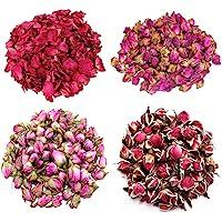 TooGet Fiori di Rosa 4 Borse Include Petali di Rosa, Boccioli di Rosa, Rosa Damascena, Bordo Oro Rosa, Fiore Verde Bulk…