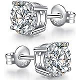 jiamiaoi Pendientes plata de ley para hombre mujer Pendientes de botón Pendiente diamante Hombres Pendiente Mujer plata de ci