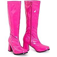 shelikes Womens Ladies Go Go Fancy Dress Party 1960 1970 Retro Patent Shiny Platform Boots Size UK 3-12