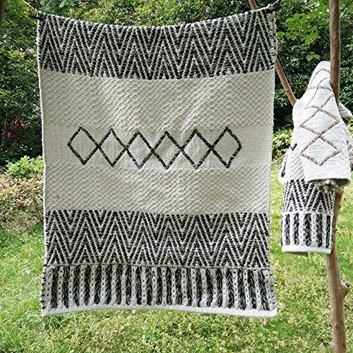 Teppich INS Einfache Rechteckige Doppelfarbe 100% Baumwolle Teppich Kreative Geometrische Handgewebte Teppich Wohnzimmer Schlafzimmer Erker Tisch Pad Waschbar (Color : Schwarz, Größe : 80cm*120cm) -