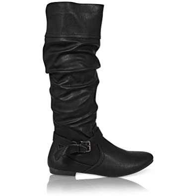 WOMENS LADIES CALF SLOUCH RUCHED ZIP ROUND TOE BUCKLE RIDING BOOTS 3-8