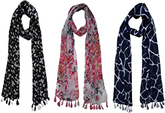 FusFus Women's Printed Trendy Stoles, Free Size(Multicolour, F0104) - Pack of 3