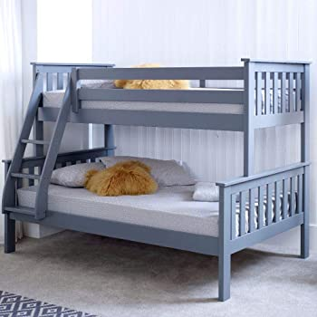 e29a29f5c340 Happy Beds Atlantis Triple Sleeper Bunk Bed Grey Wooden with 2 x Memory  Foam Mattresses 3' Single 90 x 190 cm Top and 4' Small Double 120 x 190 cm  Bottom