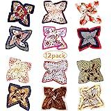 Bufanda Cuadrada de Seda - 12 Bufandas de Cuello Mixto Para Mujer, Bufandas Para Pañuelo/Bufanda Para el Cabello/Conjunto en
