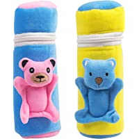 Ole Baby Dual Colour Pop-up Cute Character Plush Feeding Bottle Cover (Fuschia) - Pack of 2