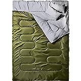 Ohuhu Dubbele slaapzak, 220 x 150 cm, voor volwassenen, met 2 gratis kussens en een draagtas, vier dubbele ritsen, aangename