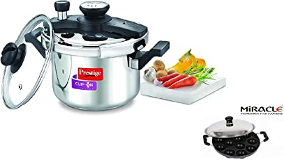 Prestige Combo of Stainless Steel Clip-on Induction Base Pressure Cooker with Lid and Non-Stick 12 Pits Appam Patra