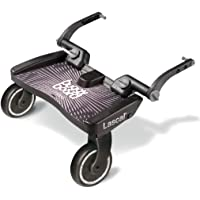 Lascal BuggyBoard Maxi, Buggy Board for Pushchair with Large Standing Area, Pram Accessory for Children from 2-6 Years (22 kg), Compatible with Almost Every Stroller and pram. Black
