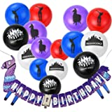 Gaming Party Supplies Balloons and Banners - 16pcs Assorted Colorful Latex Fortnite Party Favors Balloons and Birthday Banner