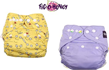 Fig O Honey One Size Multi Color Cloth Diaper with Free Absorbent Inserts- Pack of 2 (Lavender & Emoji Print Combo)