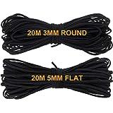 20m Elastisch Koord Rond 3mm + 20m Elastisch Koord Flat 5mm Zwart voor Naaien Brede Elastische String Bands Touw voor Ambacht