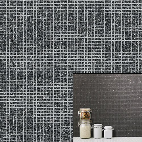 New Crown - Small Mosaic Tile Effect - Black - Glitter Luxury Wallpaper M1057