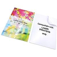 Lot de 10 feuilles autocollantes imprimables au laser en vinyle mat imperméable Blanc Format A4