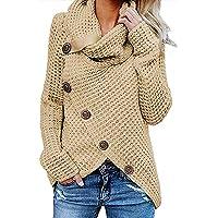 kenoce Maglione Donna Collo Alto Maglione Donna Casual Pullover Manica Lunga Casual Moda Tops Asimmetrico Maglione…