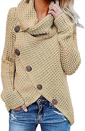 kenoce Maglione Donna Collo Alto Maglione Donna Casual Pullover Manica Lunga Casual Moda Tops Asimmetrico Maglione Maglione Autunnale e Invernale