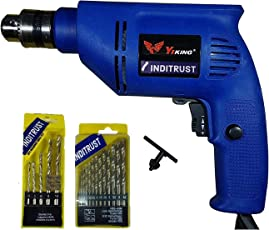 Inditrust 450W Reversible Drill Machine With Left Right Rotation And Variable Speed Trigger 5Pc Masonry Set And 13 Pieces Hss Drill-Set, 10Mm, 450W