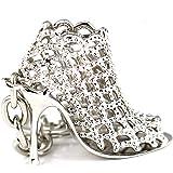 Liroyal Maycom 86113 Porte-clés créatif et tendance Motif chaussure femme à talon haut Idée cadeau Argenté, Silver, S