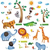 Decowall DW-1206 Animaux Sauvages de la Jungle Autocollants Muraux Mural Stickers Chambre Enfants Bébé Garderie Salon