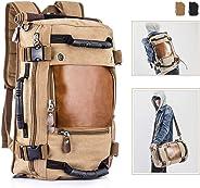 Overmont Vintage Herren Rucksack Wanderrucksack Reiserucksack Laptoprucksack 14,1 Zoll / 15,6 Zoll Daypack Multifunktionale Tasche für Reise Camping Wandern Ausflug Outdoor Khaki/Schwarz