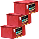 Kuber Industries 3 Piece Non Woven Fabric Saree Cover Set with Transparent Window, Extra Large, Red-CTKTC31880